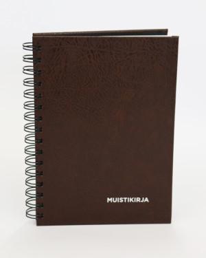 Bookcover-muistikirja ruskea kierreselkä